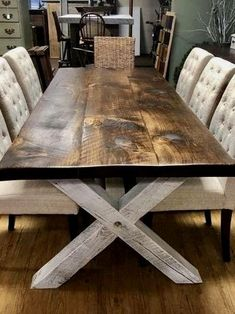 Farm Style Table x is part of Farmhouse kitchen tables All handcrafted, rough sawn New England cut lumber We use only genuine, furniture grade wood carefully selected for character and qu - Unique Dining Tables, Dinning Room Tables, Dining Table Design, Dinning Room Table Diy, Wood Dining Room Tables, Barnwood Dining Table, Wood Table Rustic, Rustic Table And Chairs, Wood Sofa Table