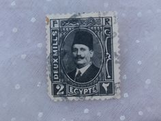 1920s King Fouad Egypt Stamp Black and White Deux Mills