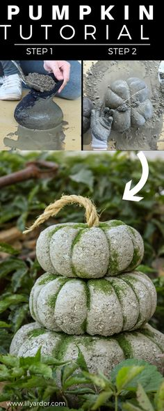 She fills some tights with concrete to make these gorgeous pumpkins! Also shares how to make lightweight concrete. Concrete Crafts, Concrete Art, Concrete Projects, Concrete Garden, Autumn Crafts, Holiday Crafts, Diy Pumpkin, Pumpkin Ideas, Papercrete