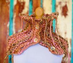 From: magnolia handspun - cowl with sari ribbon