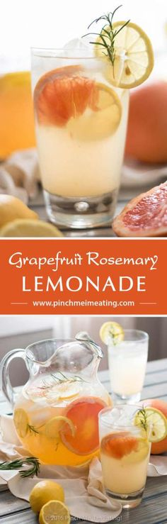 Grapefruit Rosemary Lemonade - A sweet, tangy, and fragrant twist on the classic summer drink. So refreshing! | www.pinchmeimeating.com