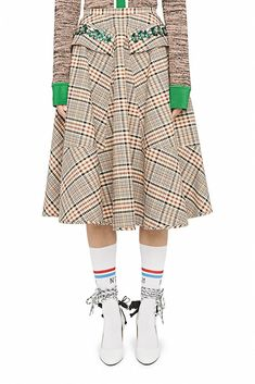 Check cotton poodle skirt - Skirts - Ready to wear - Spring/Summer - Woman Poodle, Ready To Wear, Trousers, Spring Summer, Skirts, Sweaters, Cotton, How To Wear, Shopping