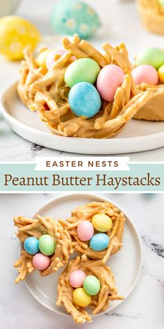 These no-bake Easter Egg Peanut Butter Haystacks are a kid favorite Easter dessert to make and enjoy! Make them in the microwave in minutes! #Easter #EasterRecipes #EasterDesserts #NoBakeDesserts #HaystacksRecipe #HaystackCookies #PeanutButter Desserts To Make, Cookie Desserts, No Bake Desserts, Dessert Recipes, Dessert Bars, Yummy Treats, Sweet Treats, Yummy Food, Holiday Treats