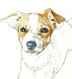 Watercolor illustration by studio tuesday: Dog Portrait Commission Watercolor Paintings Of Animals, Watercolor Portraits, Animal Paintings, Watercolor Trees, Indian Paintings, Watercolor Landscape, Abstract Paintings, Watercolour, Dog Illustration