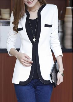 Fitted One Button Fly White Blazer for Woman - USD $27.58