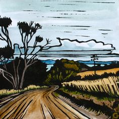 Linocut Print Handcoloured  Tasmanian Scene  by trees4thewood, $50.00