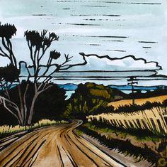 Linocut Print Handcoloured Landscape Tasmanian by trees4thewood