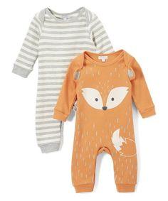 Look at this #zulilyfind! Orange Fox Playsuit Set #zulilyfinds