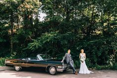 Bride and Groom with Old Car, Bride and Groom with Black Vintage Cadillac / Classic Wedding + a Cadillac // Caitlin and Robert // Houghton, Michigan Wedding Photographer