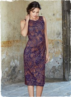 Do like the unusual color combination of this dress - they call the colors ink and adobe. Like the shirring at the hip.