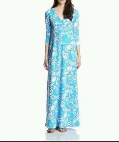 NWT Lilly Pulitzer Gloria Maxi dress Ariel Blue tide pool size Small cotton