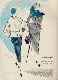 "SCHIAPARELLI ""Dresses you for going away"" Spring Brides...JEAN DEMARCHY Fashion Illustration.From Woman's Journal March 1950 (minkshmink collection)"