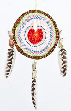 Show Me Your MuMu ~ Dreamcatcher ~ Red Heart with Lime Green