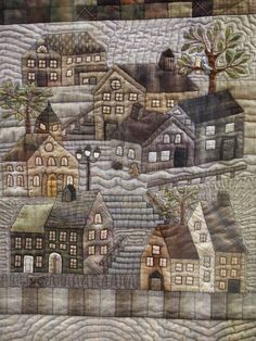 Heather Tomlinson - detail of her Yoko Saito Houses quilting ideas Yoko Saito, Patchwork Quilting, Applique Quilts, Hand Quilting, House Quilt Patterns, House Quilt Block, Quilting Projects, Quilting Designs, Quilting Ideas