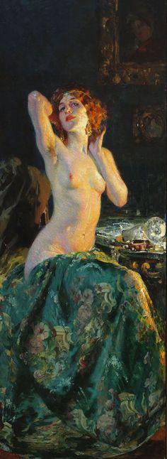 Allo specchio, Giacomo-Grosso. Italian (1860 - 1938)