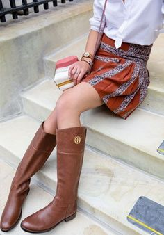 cb00ea2fb2b Tory Burch Junction Riding Boot — brings a gamine tomboy charm to a flippy  mini and colorful bag