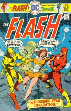 For some odd reason, Flash can't approach his wife or it would doom the world! Could it be the fact that she's really from the future? (When Reverse-Flash is the only positive being on the cover, great Scott!)
