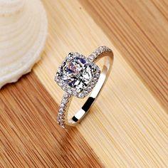 Elegant Temperament Jewelry Womens White Silver Filled Fashion Wedding Ring