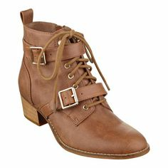 """The only way to describe Ashleigh is """"Wow!"""" There's so much to love! Lace-up design with buckle hardware. Side zipper. Back pull tab. Man-made sole. 1 3/4"""" stacked heel. Women's shoes. Booties. Ankle boots. Imported."""
