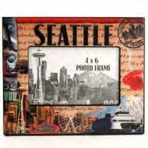 Seattle Picture Frame Stamp Theme Epoxy Finish Incredible Colors Images 4x 6 image area Approx 9 x7 Frame -- Be sure to check out this awesome product.