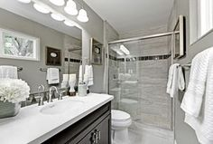 Transitional 3/4 Bathroom with Slate Tile, Stone Tile, Flat panel cabinets, specialty tile floors, Undermount Sink, Flush