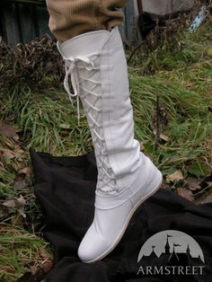 "Medieval fantasy white  high ""Forest"" boots"