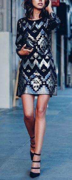 Sequin geometric mini dress.