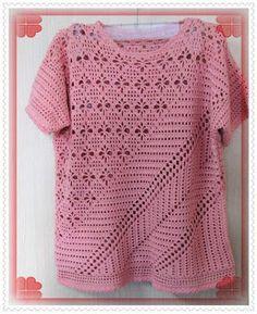 CROCHÊ MARAVILHOSO: Julho 2007 Filet Crochet, Irish Crochet, Hand Crochet, Knit Crochet, Crochet Tops, Crochet Shirt, Crochet Cardigan, Crochet Designs, Crochet Patterns