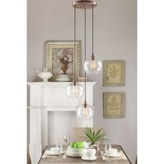 $116, Overstock Uptown 3-light Clear Globe Cluster Copper Pendant - Overstock Shopping - Great Deals on Chandeliers & Pendants