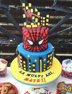 Spiderman themed boy anniversary cake by Cofetaria Aladdin