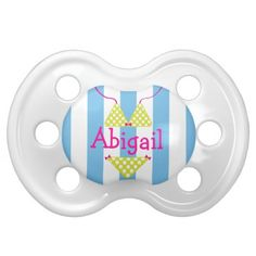 Personalized Lime Green and White Polka Dot Bikini Swimsuit Pacifier with Hot Pink Name on Blue and White Stripes. Can also be customized with a monogram. Great baby shower gift! www.gem-ann.com (Zazzle store)