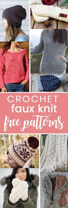 Crochet theses easy projects that look knit! All free crochet that looks knit patterns All Free Crochet, Love Crochet, Crochet Gifts, Crochet Yarn, Free Knitting, Crochet Stitches, Knitting Patterns, Crochet Patterns, Crochet Clothes