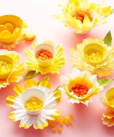 Flower Bowl Create daffodil-shaped candy dishes for a fanciful table display using coffee filters and food coloring.Create daffodil-shaped candy dishes for a fanciful table display using coffee filters and food coloring. Kids Crafts, Easter Crafts, Craft Projects, Easter Ideas, Easter Decor, Craft Ideas, Easter Centerpiece, Fun Ideas, Coffee Filter Crafts