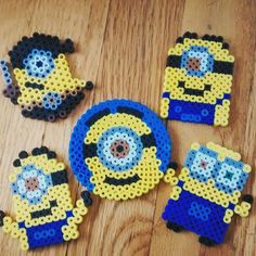 MInions perler beads by minipigdesigns
