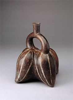 MOCHE culture North coast 100 – 800 AD Stirrup vessel in the form of pepinos 100-800 AD ceramic