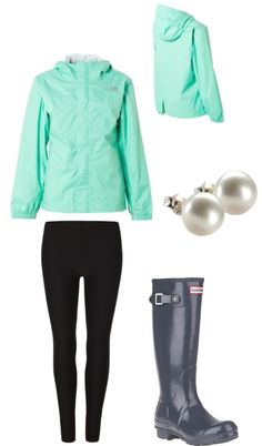 mint green north face and hunter rain boots, perfect rainy day outfit Fall Winter Outfits, Autumn Winter Fashion, Winter Style, Preppy Style, Style Me, Bon Look, Raincoat Outfit, Mein Style, Boating Outfit