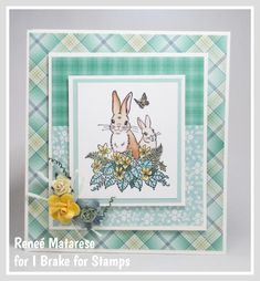 Hello and happy Saturday! Today I'm sharing a sweet Easter card with you. I've used SPRING BUNNIES from I Brake for Stamps . 2nd Birthday, Happy Birthday, 1st Christmas, Happy Saturday, Cupid, I Card, Reindeer, Sheep, Bunnies