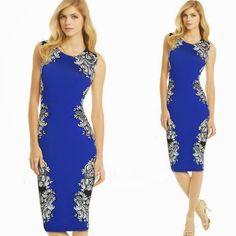 Slim Sleeveless Flower Print Keen Length Dress Party Dress|Fashion Dresses - Clothing & Apparel - ByGoods.com