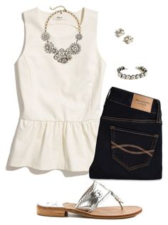 """""""Silver"""" by sc-prep-girl ❤ liked on Polyvore featuring Madewell, Abercrombie & Fitch, J.Crew and Jack Rogers"""