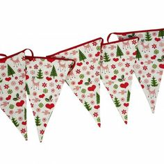 50's Christmas fabric cotton bunting, with 15 pennants strung together with red cotton ribbon | L8m H29cm, pennants measure 28cm x 28cm x 19cm