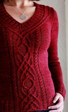 Cabeladabra pattern by Hanna Maciejewska on Ravelry. Love how the cables go up around the neckline.