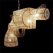 Gun Chandelier - how Lassie turns his house fancy