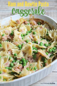 This ham and bowtie pasta casserole recipe makes a quick and satisfying dinner for the family in no time. easy dinner recipes for family