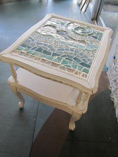 Beach Waves Mosaic End Table by MetamorphosisSuite on Etsy