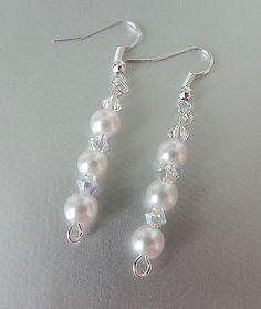 boucles d'oreilles cristal swarovski  blanc / perles de verre nacrées  €5.50