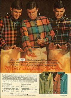 Sears Thunder and Lightning Collection Christmas Catalogs, Christmas Books, 1960 Mens Fashion, Men's Fashion, Vintage Fashion, Ivy Style, Iron Shirt, Fashion Catalogue, Vibrant Colors