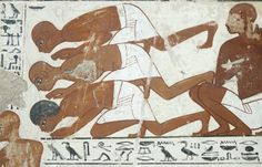 Fragments of a polychrome tomb-painting, divided into two registers, depicting the goose census on the estate of Nebamun: the upper register, which is very damaged, shows a number of estate workers before a gaggle of geese; the lower register depicts estate workers, geese and a scribe at work, three vertical registers and one horizontal register of black-painted hieroglyphs survive.