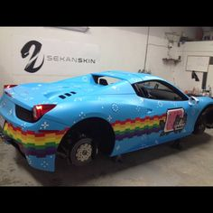 What the..... DJ Deadmau5's Nyan Cat Ferrari 458 Is the Internet in a Nutshell! What the hell was he thinking!? Find out why by clicking on the image #celebritycars