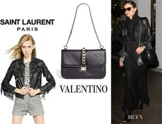 Miranda Kerr's Saint Laurent 'Nappa' Leather Fringe Jacket And Valentino Leather Shoulder Bag