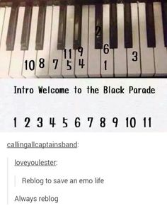 black parade, ️tumblr post, emo, tumblr, my chemical romance, piano, funny, mcr